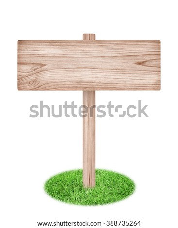 Wooden sign with green grass isolated on a white background