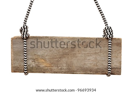 wooden sign with striped rope isolated on a white background - stock photo