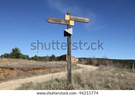 Wooden signals Gudar mountains Teruel Spain - stock photo