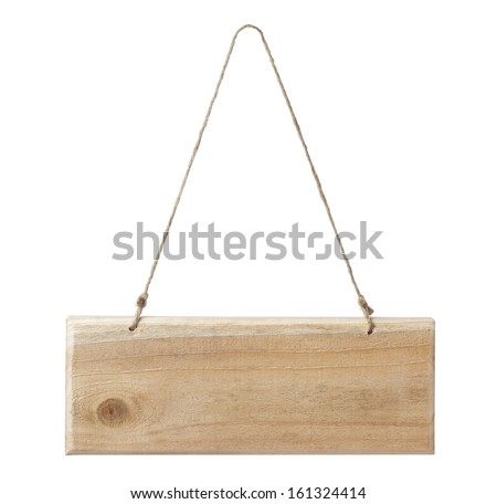 wooden signboard isolated on a white - stock photo