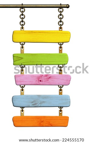 Wooden signboard. Object isolated on white background - stock photo