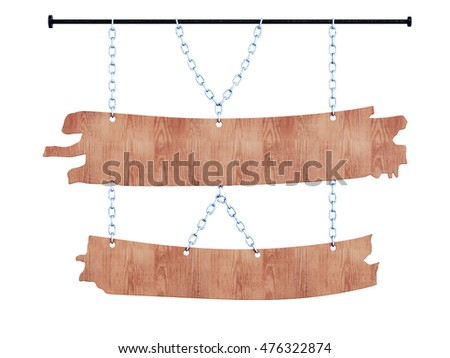 Wooden signboard on the chains front view. 3d image isolated on white background