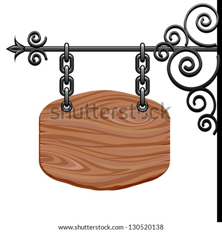 Wooden signboard. Raster version. Vector is also available in my gallery - stock photo