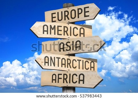 Wooden signpost continents europe america asia stock photo 537983443 wooden signpost continents europe america asia antarctica africa publicscrutiny Images