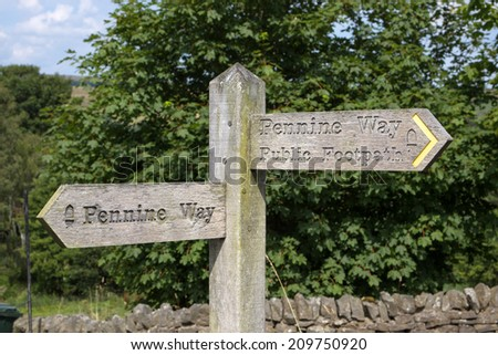 wooden signpost for Pennine Way - stock photo