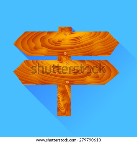 Wooden Signpost Icon Isolated on Blue Background - stock photo