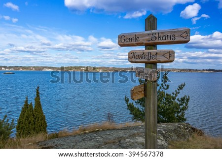 Wooden signs on Swedish coast