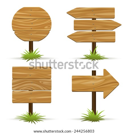 Wooden signs. Wooden plaques and pointers for information and advertising