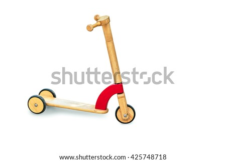 Wooden skate for kid toy isolated on white background - stock photo