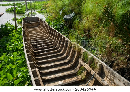 Wooden skeleton structure of the asian local boat - stock photo