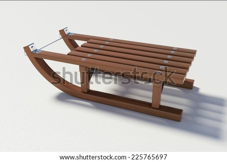 wooden sled on the white background