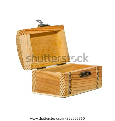 Wooden small box on white background. - stock photo
