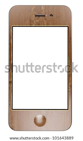 wooden smart cell touchscreen mobile phone with blank display isolated on white