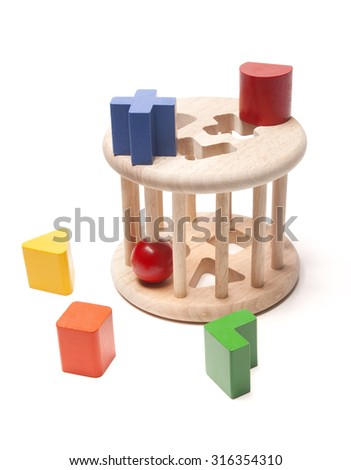 wooden sorter child toy on the white - stock photo