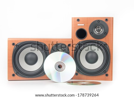 wooden sound speakers isolated on white - stock photo