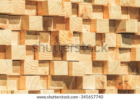 wooden soundproofing. pine timber - stock photo