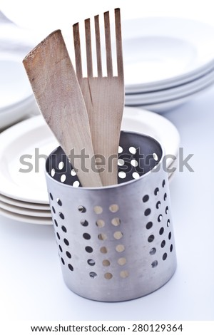 Wooden spatulas drying up - stock photo