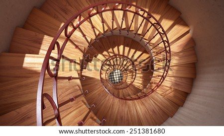Wooden spiral stairs with rails in sun light interior - stock photo