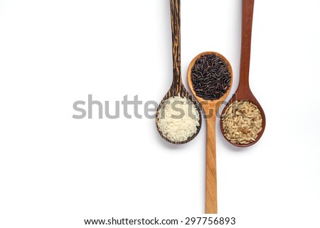 Wooden spoon and thai organice rice with space on white background