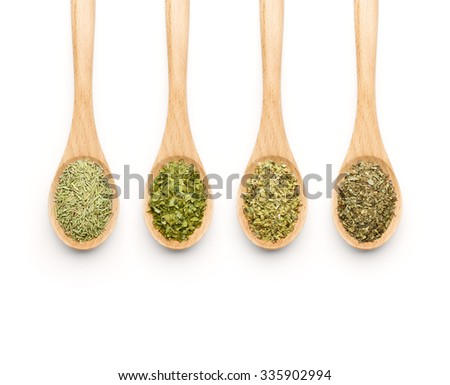Wooden Spoon filled with herbs on white background