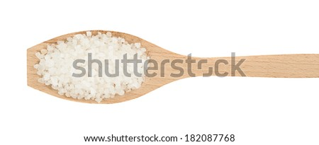 Wooden spoon full of salt crystals isolated over the white background, view above - stock photo