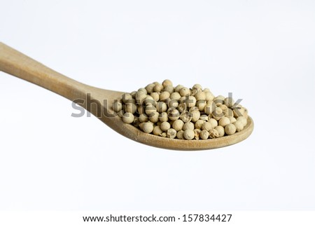 Wooden spoon, full of white pepper , isolated on white background