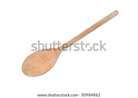 wooden spoon isolated on a white studio background.