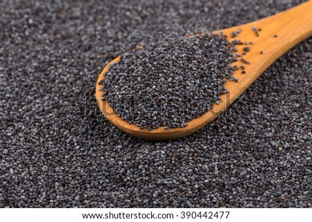 Wooden spoon with poppy seeds as a background