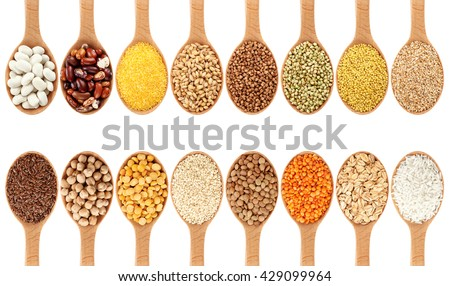 Wooden spoon with porridge, cereals, lentils, peas and beans isolated on white background. Collection. - stock photo