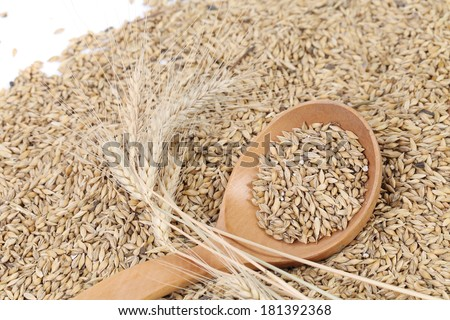 Wooden spoon with wheat. To be used as background.