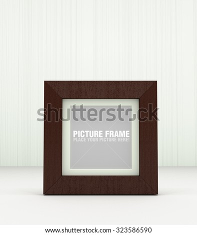 Wooden square picture frame - stock photo