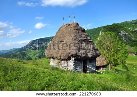 Wooden stable with thatched roof in the mountains. Transylvania, Romania - stock photo