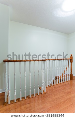 Wooden staircase interior in the modern house - stock photo