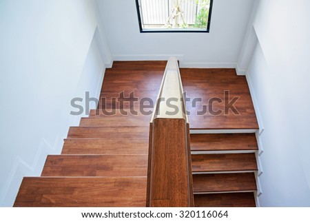 Wooden stairs - stock photo