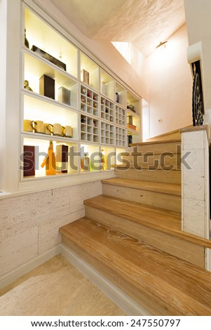 wooden stairs in luxury home interior