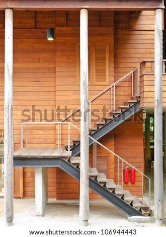 Wooden stairs inside the building