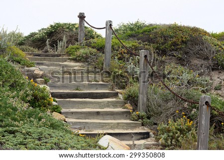 Wooden stairs on a coastline - stock photo
