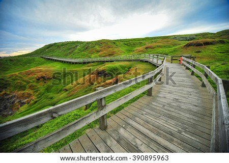 Wooden stairs to Ventnor beach, The Nobbies center overlook Seal Rocks. Grant Point, western tip of Phillip Island, Victoria, Australia.