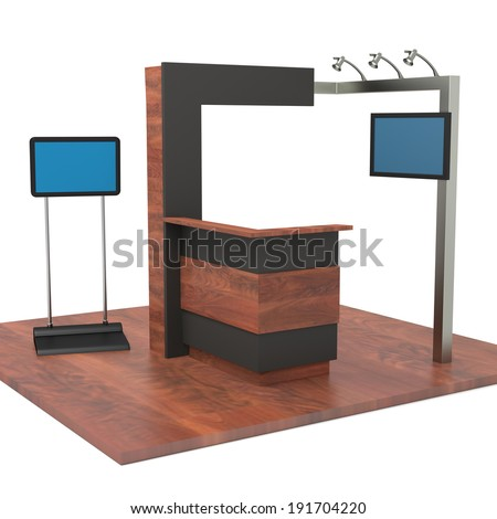 wooden stand or booth in a trade show. 3d render - stock photo