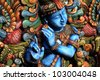 Wooden Statue of lord krishna - stock photo