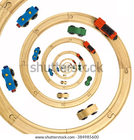 Wooden Steam Locomotive and Cars Toy Spiral Rails - stock photo