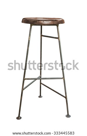 Wooden steel legs simplistic bar chair on white background, work with path.
