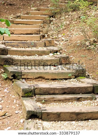 wooden steps going up a hill