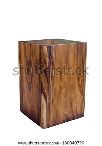 wooden stool isolated on white background. - stock photo