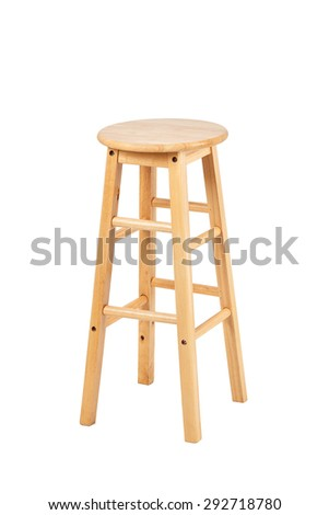 Wooden stool on white background