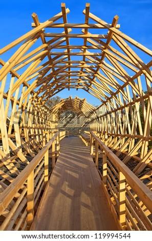 Wooden structure in Haus der Kulturen der Welt, Berlin, Germany - stock photo