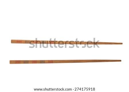 Wooden sushi chopsticks isolated on white background. - stock photo