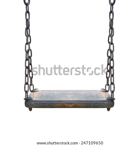wooden swing isolated on white - stock photo