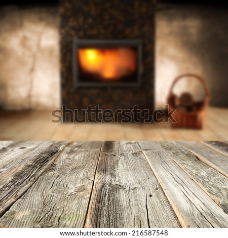 wooden table and room of fire