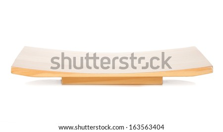 Wooden table for japanese food. Isolated on white background - stock photo